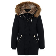 Buy Miss Selfridge Premium Fur Lined Parka, Black Online at johnlewis.com