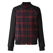Buy Jigsaw Check Bomber Jacket, Burgundy Online at johnlewis.com