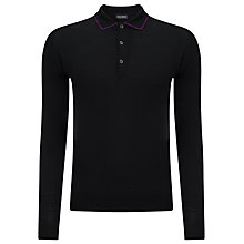 Buy John Smedley Bamburgh Tipped Long Sleeve Polo Shirt, Black/Purple Online at johnlewis.com