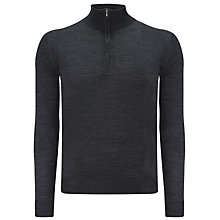 Buy John Smedley Hugh Merino Wool Half Zip Jumper, Charcoal Online at johnlewis.com