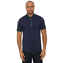 Buy Original Penguin Doon Check Collar Polo Shirt, Dress Blue Online at johnlewis.com