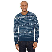 Buy Original Penguin Shet Fair Isle Jumper, Teal/White Online at johnlewis.com