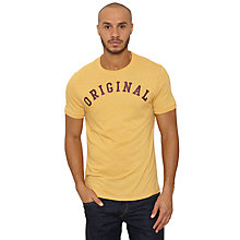Buy Original Penguin Arch Print T-Shirt, Honey Gold Online at johnlewis.com