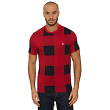 Buy Original Penguin Buffalo Large Check T-Shirt, Red/Black Online at johnlewis.com