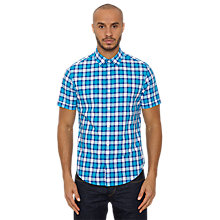 Buy Original Penguin Phiz Plaid Short Sleeve Shirt, Vivid Blue Online at johnlewis.com