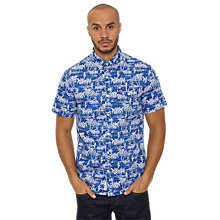 Buy Original Penguin Hawaiian Tiki Print Short Sleeve Shirt, Mazarine Blue Online at johnlewis.com