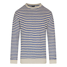 Buy Barbour Greatcoat Legion Stripe Crew Neck Jumper, Cream/Blue Online at johnlewis.com