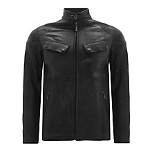 Buy Barbour International Arielston Leather Jacket, Black Online at johnlewis.com