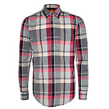 Buy BOSS Orange Califoe Two Pocket Check Shirt, Grey/Red Online at johnlewis.com