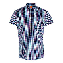Buy BOSS Orange Ezippo E1 Gingham Cotton Shirt, Light Blue Online at johnlewis.com