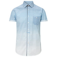 Buy BOSS Orange Eslime Geometric Print Short Sleeve Shirt, Blue Online at johnlewis.com