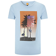 Buy BOSS Orange Temyo Palm Print Cotton T-Shirt, Blue Online at johnlewis.com