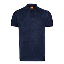Buy BOSS Orange Kirian Knitted Linen Blend Polo Shirt, Sky Captain Online at johnlewis.com