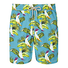 Buy Hackett London Bird Print Swim Shorts, Blue Bird Online at johnlewis.com