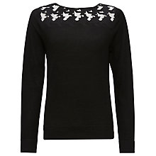 Buy Jaeger Houndstooth Lace Sweater, Black Online at johnlewis.com