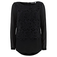 Buy Mint Velvet Lace Double Layer Blouse, Black Online at johnlewis.com