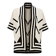 Buy Jaeger Chunky Zig Zag Cardigan, Black / Ivory Online at johnlewis.com