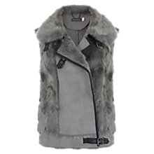 Buy Mint Velvet Teddy Faux Fur Gilet, Grey Online at johnlewis.com