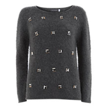 Buy Mint Velvet Stone Embellished Jumper, Granite Online at johnlewis.com