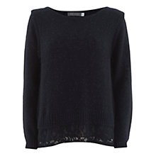 Buy Mint Velvet Lace Back Knit Top, Navy Online at johnlewis.com