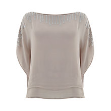 Buy Mint Velvet Double Layer Beaded Top, Pale Pink Online at johnlewis.com