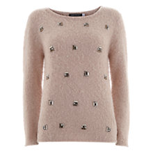 Buy Mint Velvet Powder Stone Knit Top, Pale Pink Online at johnlewis.com
