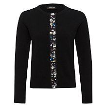Buy Jaeger Jewel Placket Cardigan, Black Online at johnlewis.com