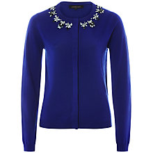 Buy Jaeger Embellished Neck Cardigan, Ultra Violet Online at johnlewis.com