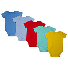 Buy John Lewis Baby Short Sleeve Bodysuit, Pack of 5, Multi Online at johnlewis.com