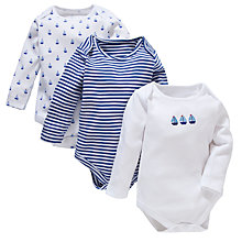 Buy John Lewis Boat & Stripe Bodysuits, Pack of 3, Blue/White Online at johnlewis.com