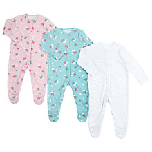Buy John Lewis Baby Vintage Floral Sleepsuit, Pack of 3, Mutli Online at johnlewis.com