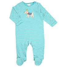 Buy John Lewis Baby Layette Terrier Stripe Sleepsuit, Aqua Online at johnlewis.com