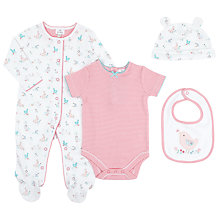 Buy John Lewis Baby Rabbit & Bird Set, Set of 4, White/Pink Online at johnlewis.com