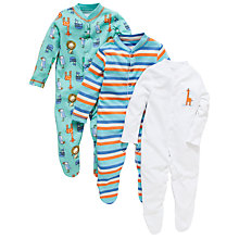 Buy John Lewis Zoo Animal Sleepsuit, Pack of 3, Multi Online at johnlewis.com