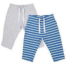 Buy John Lewis Baby Striped Joggers, Pack of 2, Blue/Grey Online at johnlewis.com