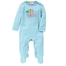 Buy John Lewis Baby Animal Boat Sleepsuit, Aqua Online at johnlewis.com