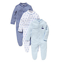 Buy John Lewis Baby Boat and Anchor Sleepsuits, Pack of 3, Blue/White Online at johnlewis.com