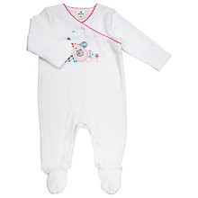 Buy John Lewis Baby Layette Mouse Velour Sleepsuit, White Online at johnlewis.com