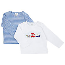 Buy John Lewis Striped/Car Top, Pack of 2, White Online at johnlewis.com
