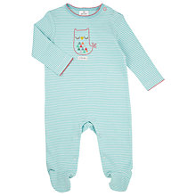 Buy John Lewis Baby Little Owl Sleepsuit, Aqua Online at johnlewis.com