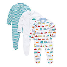 Buy John Lewis Baby Car & Stripe Cotton Sleepsuits, Pack of 3, Multi Online at johnlewis.com