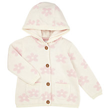 Buy John Lewis Baby Floral Hooded Cardigan, Cream/Pink Online at johnlewis.com
