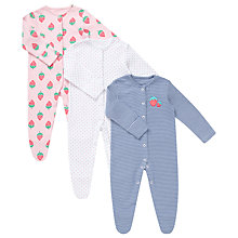 Buy John Lewis Strawberry Sleepsuits, Pack of 3, Pink/Blue Online at johnlewis.com
