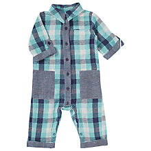 Buy Kin by John Lewis Baby Check Romper, Blue Online at johnlewis.com