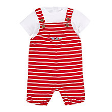 Buy John Lewis Stripe Dungarees & T-Shirt Set, Red/Stripe Online at johnlewis.com