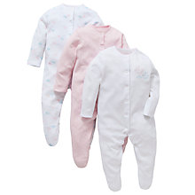 Buy John Lewis Bird and Cloud Sleepsuit, Pack of 3, White/Pink Online at johnlewis.com