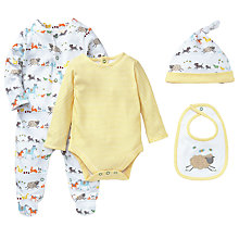Buy John Lewis Farmyard Sleepsuit Set, 4 Pieces, White/Yellow Online at johnlewis.com