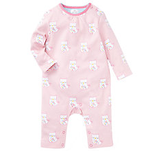 Buy John Lewis Baby Owl Sleepsuit, Pink Online at johnlewis.com