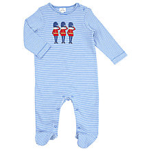 Buy John Lewis Baby Layette Stripe Solider Sleepsuit, blue Online at johnlewis.com