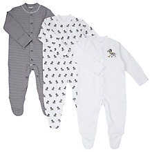 Buy John Lewis Baby Zebra Print Sleepersuit, Pack of 3, Black/White Online at johnlewis.com